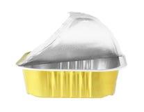 Het Voedselpakket van de aluminiumfolie op witte achtergrond wordt geïsoleerd die Royalty-vrije Stock Afbeeldingen