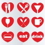 Het voedselpictogrammen van de liefde Royalty-vrije Stock Afbeeldingen