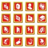 Het voedselpictogrammen van de winkelnavigatie geplaatst rode vierkante vector Stock Fotografie