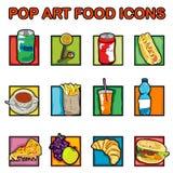 Het voedselpictogrammen van het pop-art Royalty-vrije Stock Foto