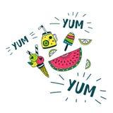 Het voedselreeks van de Yum yum zomer Royalty-vrije Stock Fotografie