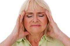 Het voelen van vreselijke hoofdpijn Stock Afbeeldingen