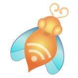 Het voerlink van de bij RSS pictogram Stock Foto's