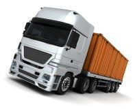 Het Voertuig van de Levering van de container van de vracht Royalty-vrije Stock Afbeeldingen