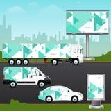 Het voertuig van het ontwerpmalplaatje, openlucht reclame of collectieve identiteit Stock Afbeeldingen
