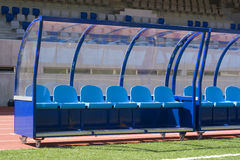 Het voetbal van de bank Stock Foto