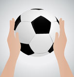 Het Voetbalbal van de handholding omhoog Royalty-vrije Stock Foto's