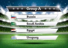 Het voetbalkampioenschap groepeert A De toernooien van de voetbalwereld Trek Onderzoek royalty-vrije illustratie