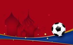 Het voetbalkampioenschap van de voetbal 2018 wereld Voetbal op Basilicums Kathedraal en blauwe lijnachtergrond royalty-vrije illustratie