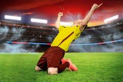 Het voetbalspel Stock Foto's