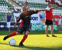 Het voetbalspel van tuzla-Munkachevo Stock Foto