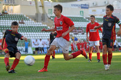 Het voetbalspel van tuzla-Munkachevo Stock Afbeeldingen