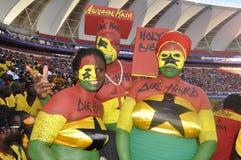 Het voetbalverdedigers van Ghana âdie hardâ Stock Foto's