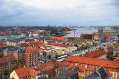 Het vogelperspectief van de Kerk van Onze Verlosser op Kopenhagen Royalty-vrije Stock Foto