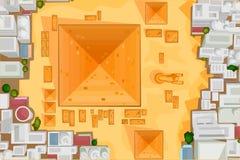 Het vogelsoog bekijkt de Grote Piramide van Giza vector illustratie