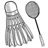 Het vogeltje van het badminton en rackettekening Stock Foto