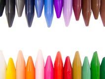 het volledige kleurenkleurpotlood leidt onregelmatig Stock Afbeeldingen