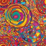 Het volledige kleurrijke naadloze patroon van de wervelingslijn Stock Foto
