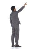 Het volledige Lengte Onverwachte Cijfer, Bedrijfsmensentribune in Gray Suit hijgt a Stock Afbeeldingen