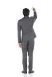 Het volledige Lengte Onverwachte Cijfer, Bedrijfsmensentribune in Gray Suit hijgt a Royalty-vrije Stock Afbeeldingen