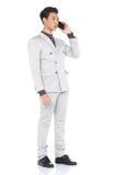 Het volledige Lengte Onverwachte Cijfer, Bedrijfsmensentribune in Gray Suit hijgt a Royalty-vrije Stock Foto