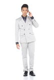 Het volledige Lengte Onverwachte Cijfer, Bedrijfsmensentribune in Gray Suit hijgt a royalty-vrije stock afbeelding