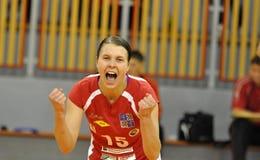 Het volleyball extra liga van vrouwen, Katarina Frimagnska Stock Fotografie