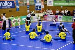 Het Volleyball van de zitting voor de Gehandicapten royalty-vrije stock foto