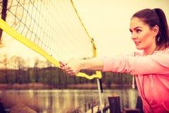 Het volleyball van het vrouwenspel Stock Foto's