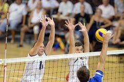 Het volleyballspel van Hongarije - van Letland Stock Afbeelding