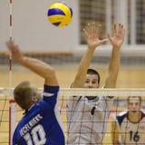 Het volleyballspel van Hongarije - van Letland Stock Foto's
