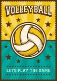 Het Volleyballsport Retro Pop Art Poster Signage van de salvobal vector illustratie
