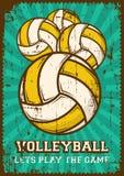 Het Volleyballsport Retro Pop Art Poster Signage van de salvobal royalty-vrije illustratie
