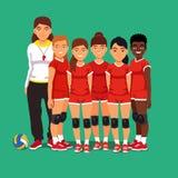 Het volleyballteam van schoolvrouwen Stock Fotografie