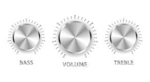 Het volume drievoudige basknoppen van het metaal Royalty-vrije Stock Afbeeldingen