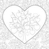 Het volwassen kleurende boek, pagineert een beeld van het de Dagthema van Valentine ` s voor het ontspannen royalty-vrije illustratie