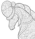 Het volwassen kleurende boek, pagineert een leuk paard dragend Kerstmis GLB im royalty-vrije illustratie