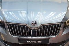 Het vooraanzicht van de Buitengewone auto van Skoda op de auto van Belgrado toont, 20 Maart, 2 Stock Foto's