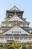 Het vooraanzicht van Osaka Castle, Japan Stock Afbeelding