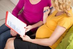 Het voorbereiden van babyuitzetlijst tijdens zwangerschap royalty-vrije stock foto