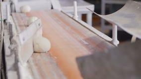 Het voorbereiden van deeg voor bakselbroden Geautomatiseerde productie van brood Transportband met brood Materiaal voor productie stock video