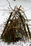Het voorbereiden van een brand in het de winterbos royalty-vrije stock fotografie