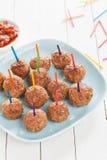 Het voorbereiden van een dienblad van heerlijke vleesballetjes voor snacks Stock Afbeelding