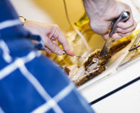 Het voorbereiden van en het snijden van een lapje vlees stock afbeeldingen