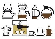 Het voorbereiden van koffie Stock Foto's