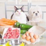 Het voorbereiden van natuurvoeding voor huisdieren stock foto's