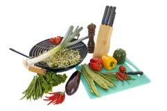 Het voorbereiden van wok Stock Fotografie