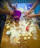 Het voorbereidingen treffen, koken, die eigengemaakte ravioli, pelmeni of bollen met vlees maken Royalty-vrije Stock Fotografie