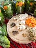 Het voorbereidingen treffen legde komkommers in met wortelen, knoflook, peper, mosterdzaden, selderie, dille worden geassorteerd Royalty-vrije Stock Afbeelding