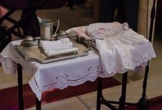 Het voorbereidingen treffen voor Doopsel in de Katholieke Kerk Royalty-vrije Stock Foto's